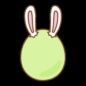 緑のうさ耳タマゴのフリーイラスト Clip art of green rabbit-ears-egg