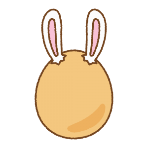 オレンジのうさ耳タマゴのフリーイラスト Clip art of rabbit-ears-orange-egg