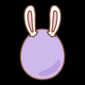紫のうさ耳タマゴのフリーイラスト Clip art of rabbit-ears-purple-egg
