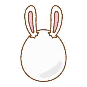 白いうさ耳タマゴのフリーイラスト Clip art of rabbit-ears-white-egg