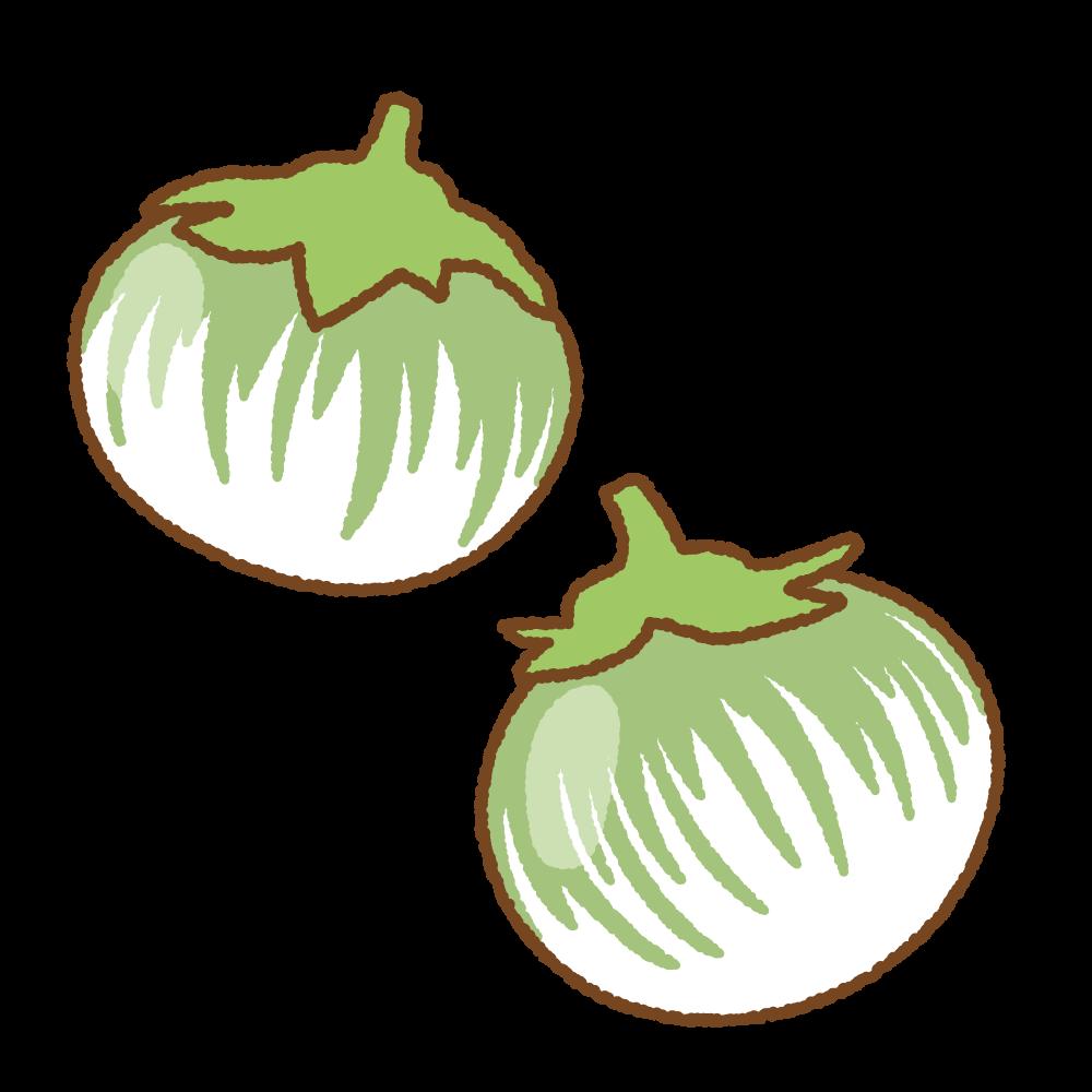 緑縞の白ナスのフリーイラスト Clip art of green-white eggplant