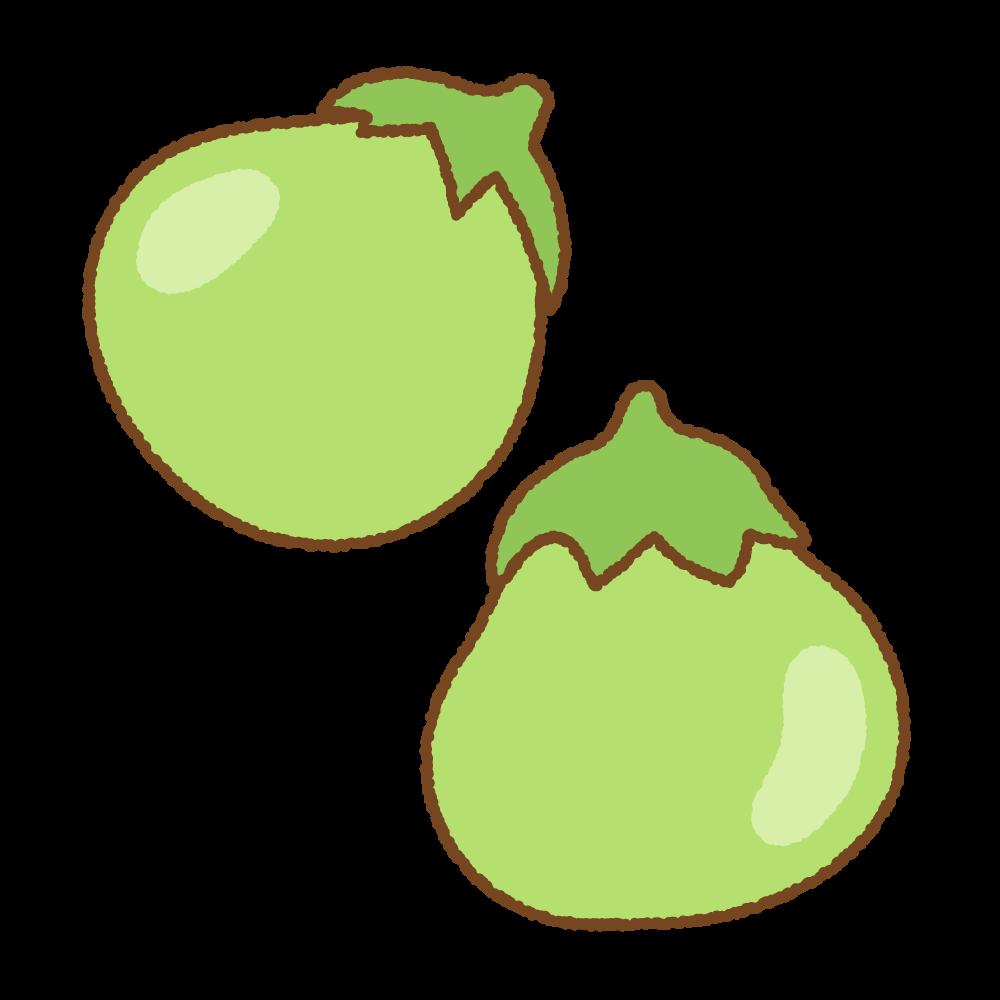 丸形の青ナスのフリーイラスト Clip art of greenball eggpant