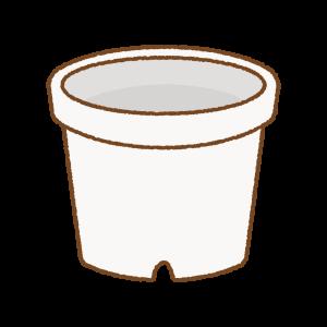 白い植木鉢のフリーイラスト Clip art of white flower-pot
