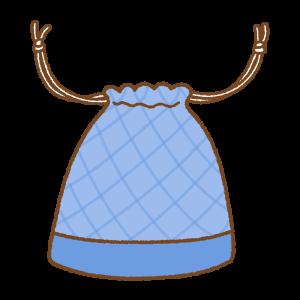 青い巾着袋のフリーイラスト Clip art of blue kinchaku