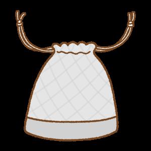 グレーの巾着袋のフリーイラスト Clip art of gray kinchaku