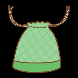 緑の巾着袋のフリーイラスト Clip art of green kinchaku