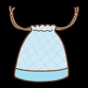 水色の巾着袋のフリーイラスト Clip art of light-blue kinchaku