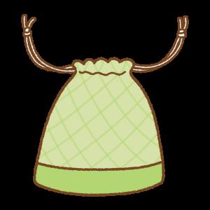 黄緑の巾着袋のフリーイラスト Clip art of light-green kinchaku