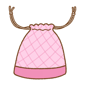ピンクの巾着袋のフリーイラスト Clip art of pink kinchaku