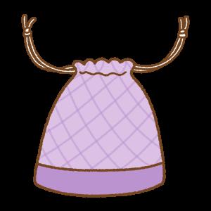 紫の巾着袋のフリーイラスト Clip art of purple kinchaku