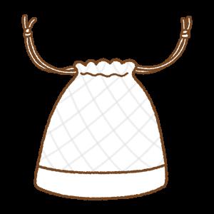 白い巾着袋のフリーイラスト Clip art of white kinchaku