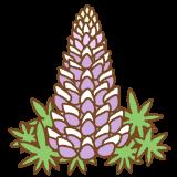 紫のルピナスのフリーイラスト Clip art of purple lupinus