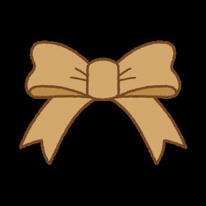 茶色のフリーイラスト Clip art of brown ribbon