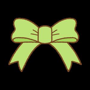 黄緑のリボンのフリーイラスト Clip art of light-green ribbon