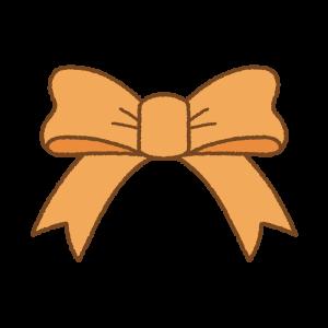 オレンジのフリーイラスト Clip art of orange ribbon