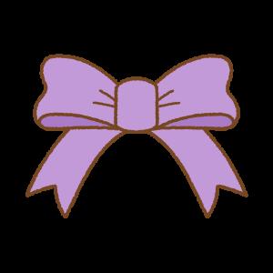 紫のリボンのフリーイラスト Clip art of purple ribbon[[