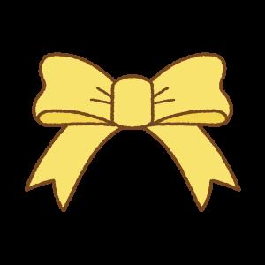 黄色いリボンのフリーイラスト Clip art of yellow ribbon