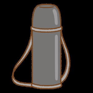 黒い水筒のフリーイラスト Clip art of black thermos