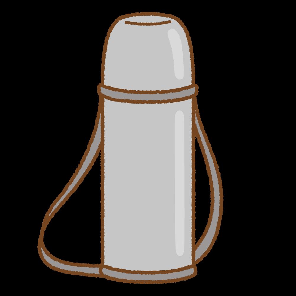 グレーの水筒のフリーイラスト Clip art of gray thermos