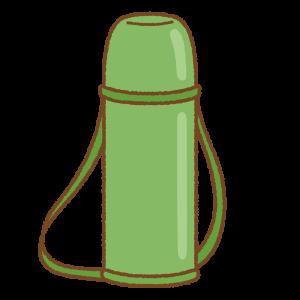緑色の水筒のフリーイラスト Clip art of green thermos