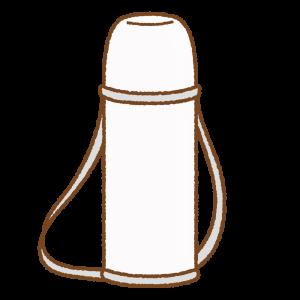 白い水筒のフリーイラスト Clip art of white thermos