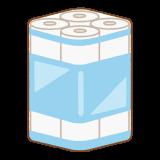 青いトイレットペーパーのフリーイラスト Clip art of blue toilet-paper pack