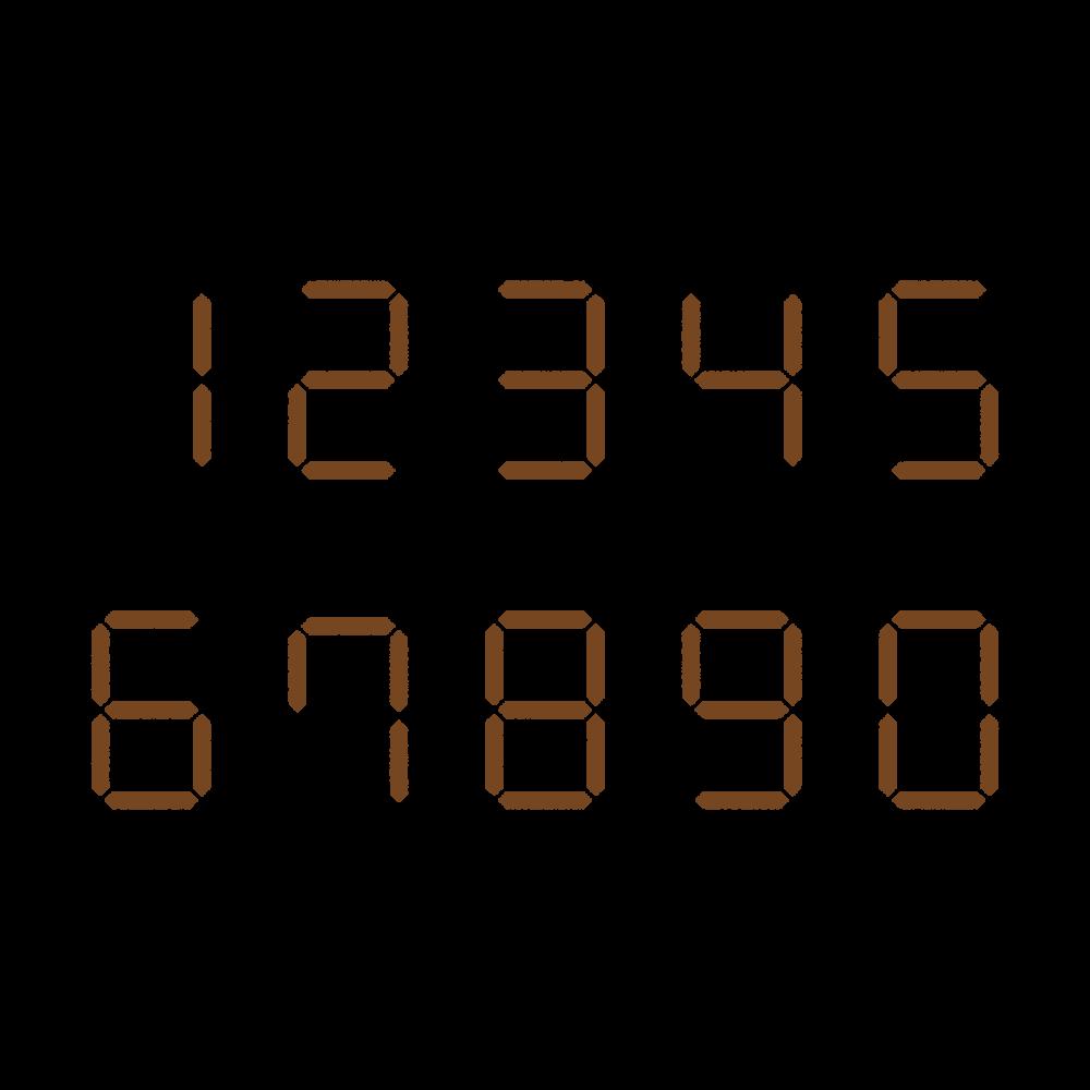7セグメントナンバーのフリーイラスト Clip art of 7 segment numbers