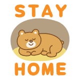 STAY HOMEのフリーイラスト(クマ) Clip art of STAY HOME bear