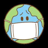 マスクをした地球のイラスト