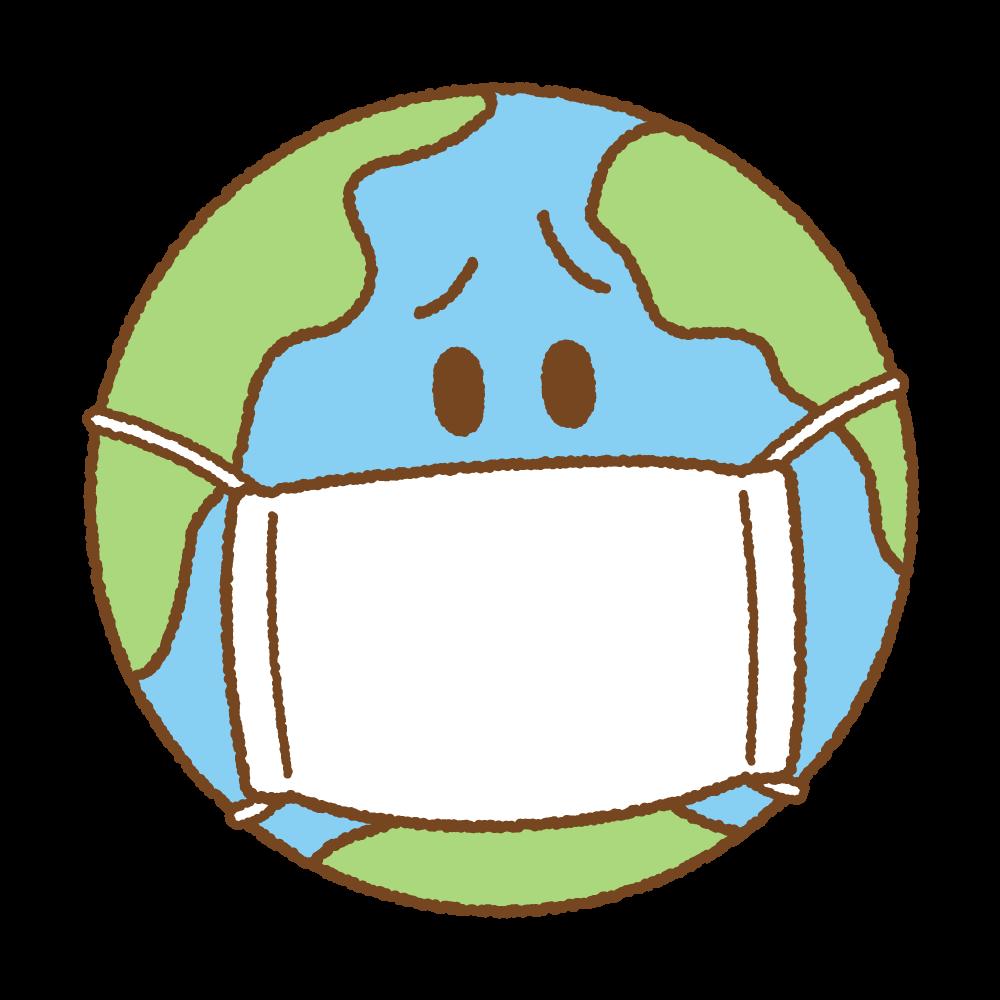 マスクした地球のフリーイラスト Clip art of earth mask