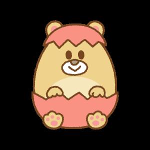 クマのイースターエッグのフリーイラスト Clip art of bear easter egg