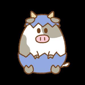 牛のイースターエッグのフリーイラスト Clip art of cow easter egg