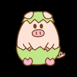 ブタのフリーイラスト Clip art of pig easter egg