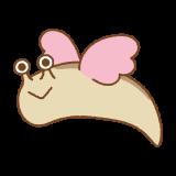 飛ぶナメクジのフリーイラスト Clip art of flying slug