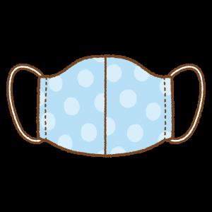 水玉模様の手作りマスクのフリーイラスト Clip art of blue mask