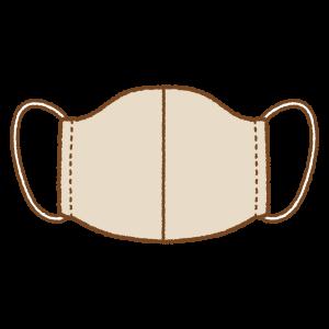 茶色の手作りマスクのフリーイラスト Clip art of brown mask