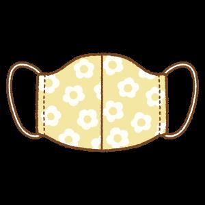 花柄の手作りマスクのフリーイラスト Clip art of flower pattern mask