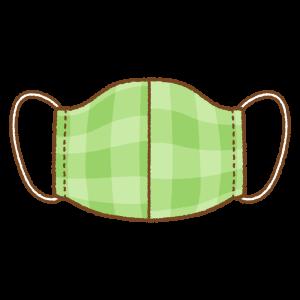 緑のチェック柄の手作りマスクのフリーイラスト Clip art of green mask
