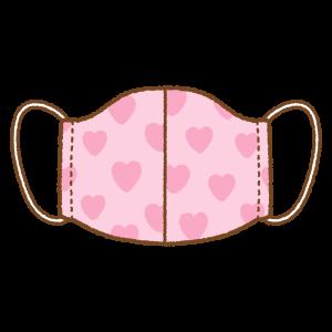 ハート柄の手作りマスクのフリーイラスト Clip art of heart pattern mask
