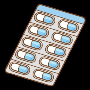 青いカプセル薬シートのフリーイラスト Clip art of blue capsule medicine sheet