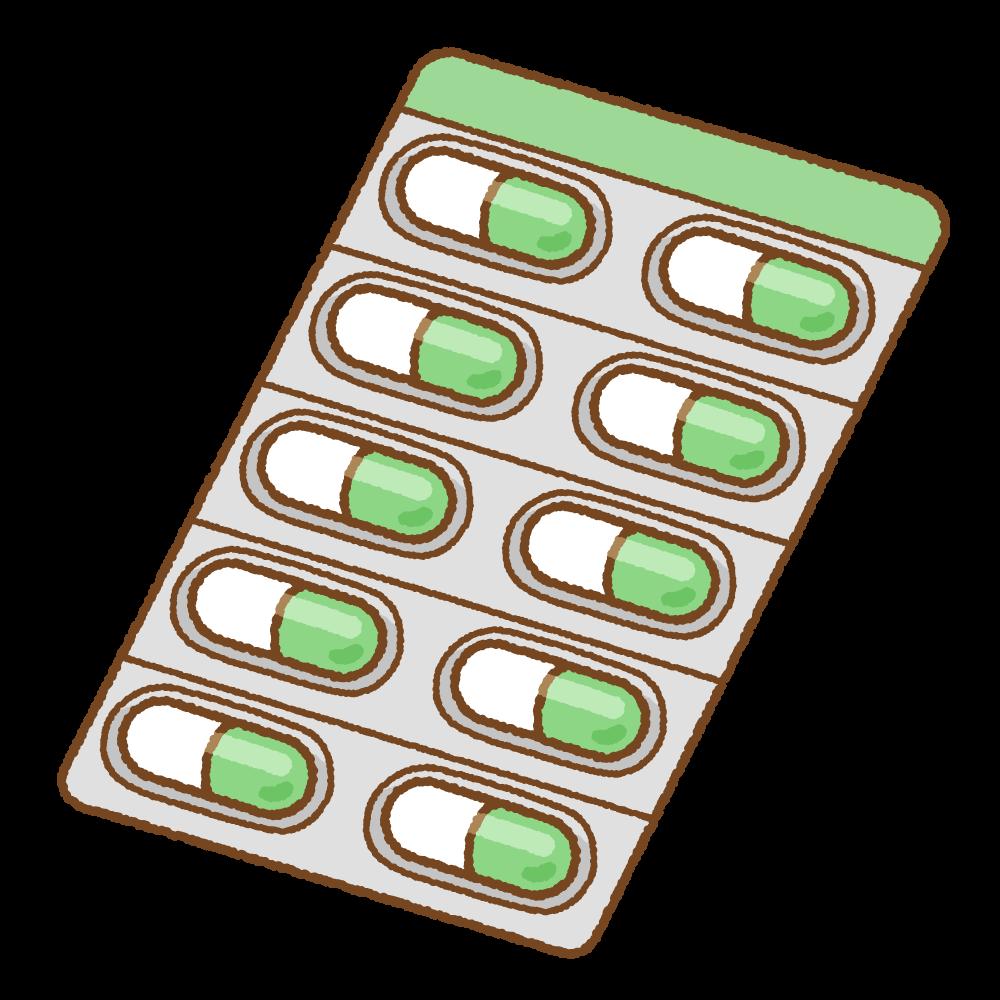 緑のカプセル薬シートのフリーイラスト Clip art of green capsule medicine sheet