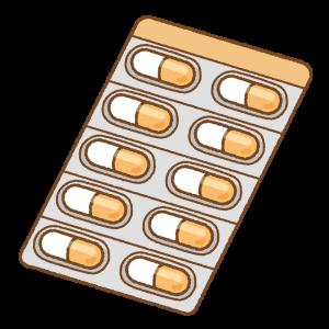 オレンジのカプセル薬シートのフリーイラスト Clip art of orange capsule medicine sheet