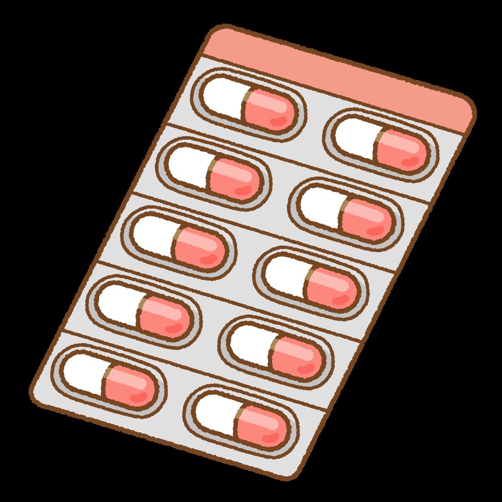 赤いカプセル薬シートのフリーイラスト Clip art of red capsule medicine sheet