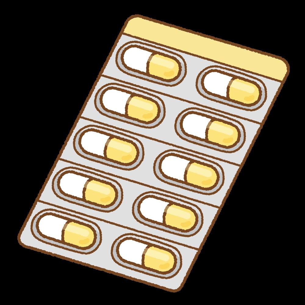 黄色のカプセル薬シートのフリーイラスト Clip art of yellow capsule medicine sheet