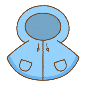 青い子供用レインポンチョのフリーイラスト Clip art of blue kids rain-poncho