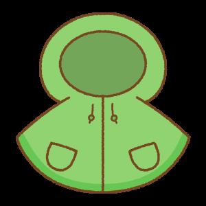 緑の子供用レインポンチョのフリーイラスト Clip art of blue green rain-poncho