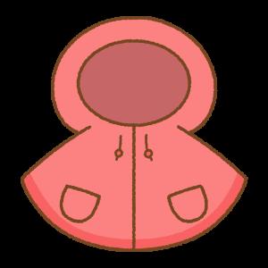 赤い子供用レインポンチョのフリーイラスト Clip art of red kids rain-poncho