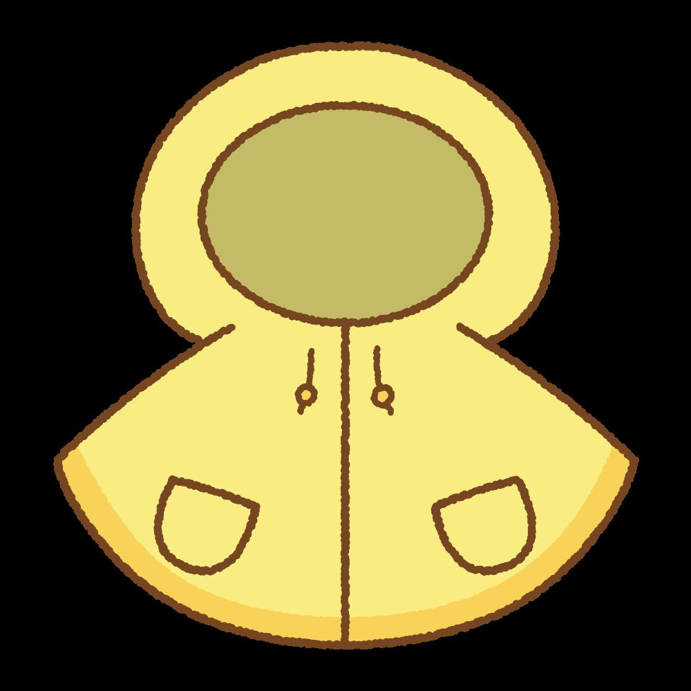 黄色い子供用レインポンチョのフリーイラスト Clip art of blue yellow rain-poncho
