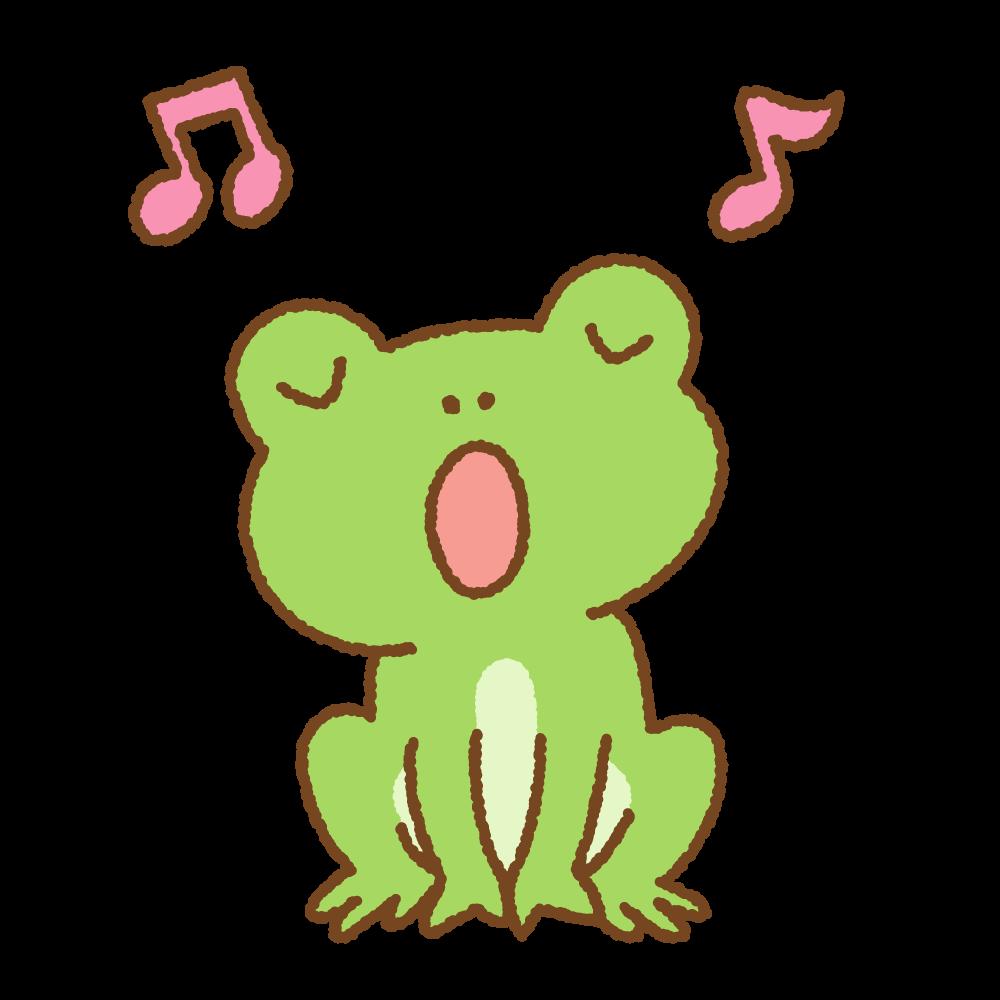 歌っているカエルのフリーイラスト Clip art of singing frog