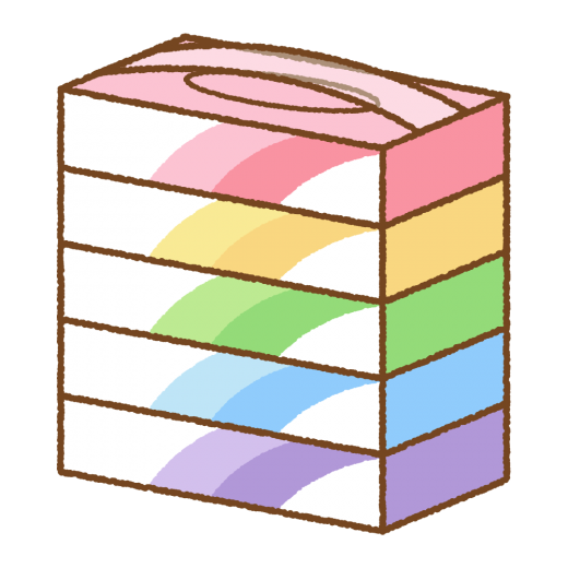 ボックスティッシュのイラスト(5箱)
